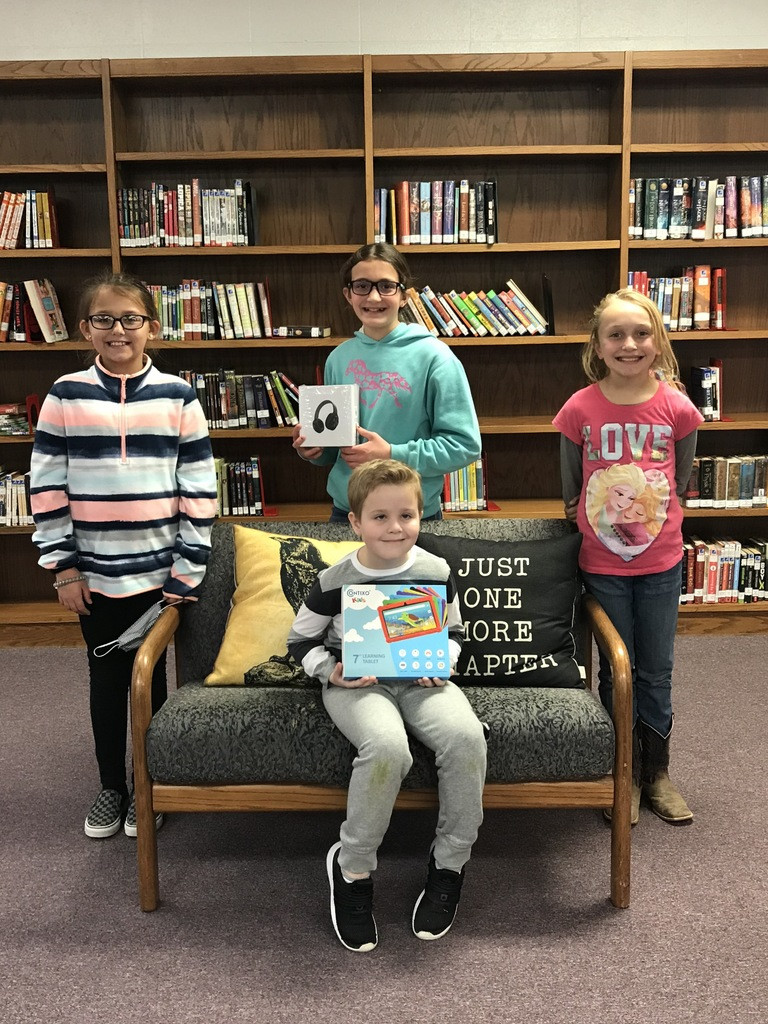 K-4 Spelling Bee: L-R: Chloe Wall, Isaac Smith, Carly Austin, Laney Daniel